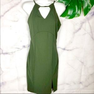 CALS Olive Green Fitted Bodycon Midi Dress Small